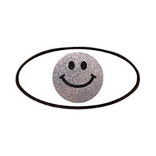 Silver faux glitter smiley face Patches