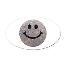 Silver faux glitter smiley face Oval Car Magnet