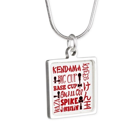 Kendama Block Silver Square Necklace