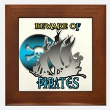 Beware of Pirates Framed Tile