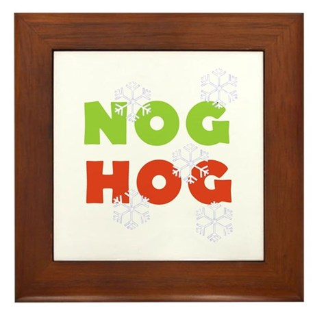 Nog Hog Christmas Framed Tile