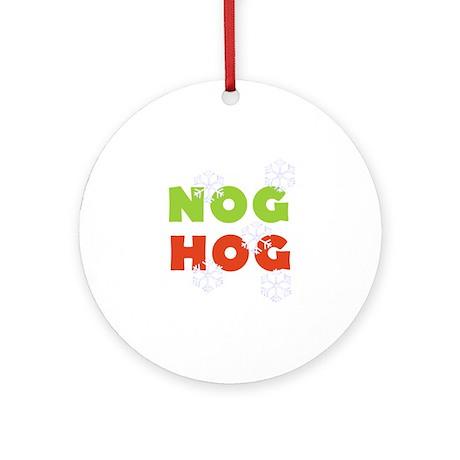 Nog Hog Christmas Ornament (Round)