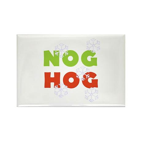Nog Hog Christmas Rectangle Magnet