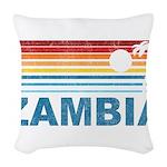 Retro Palm Tree Zambia Woven Throw Pillow