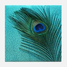 Metallic Aqua Peacock Tile Coaster