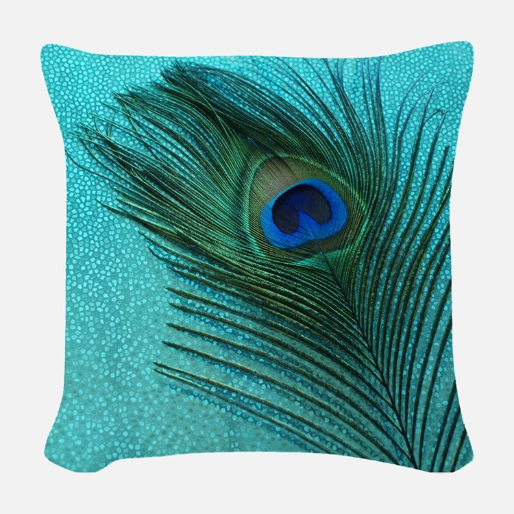 Metallic Aqua Peacock Woven Throw Pillow