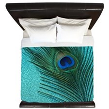 Metallic Aqua Peacock King Duvet