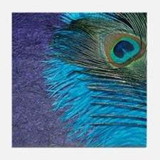 Purple and Teal Peacock Tile Coaster