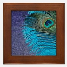 Purple and Teal Peacock Framed Tile