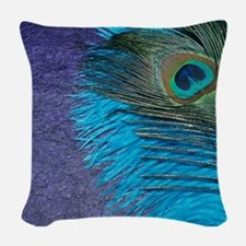 Purple and Teal Peacock Woven Throw Pillow