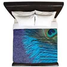 Purple and Teal Peacock King Duvet