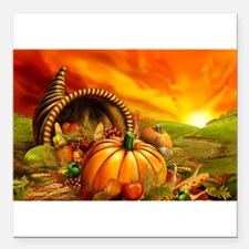 A Thanksgiving Bountiful Harvest Square Car Magnet