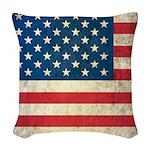Vintage USA Flag Woven Throw Pillow