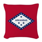 Arkansas Flag Woven Throw Pillow