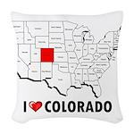 I Love Colorado Woven Throw Pillow