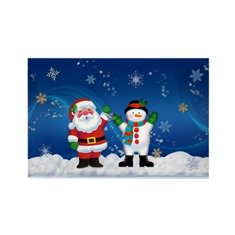 Santa & Frosty welcome winter! Rectangle Magnet