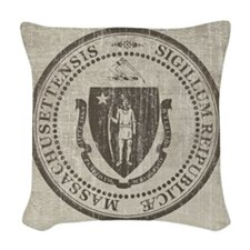 Vintage Massachusetts Seal Woven Throw Pillow