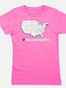I Love Massachusetts Girl's Tee