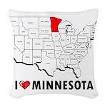 I Love Minnesota Woven Throw Pillow
