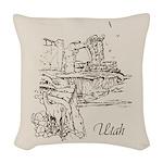 Vintage Utah Woven Throw Pillow