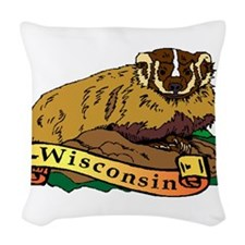 Wisconsin Badger Woven Throw Pillow