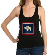 Grunge Wyoming Flag Racerback Tank Top