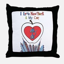 I LoVE New York and My Cat Throw Pillow