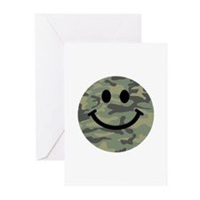 Green Camo Smiley Face Greeting Cards (Pk of 10)