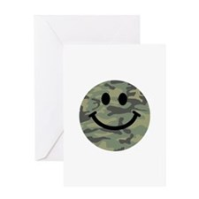 Green Camo Smiley Face Greeting Card