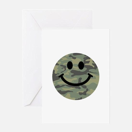 Green Camo Smiley Face Greeting Card