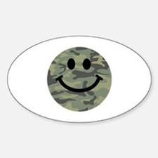 Green Camo Smiley Face Decal