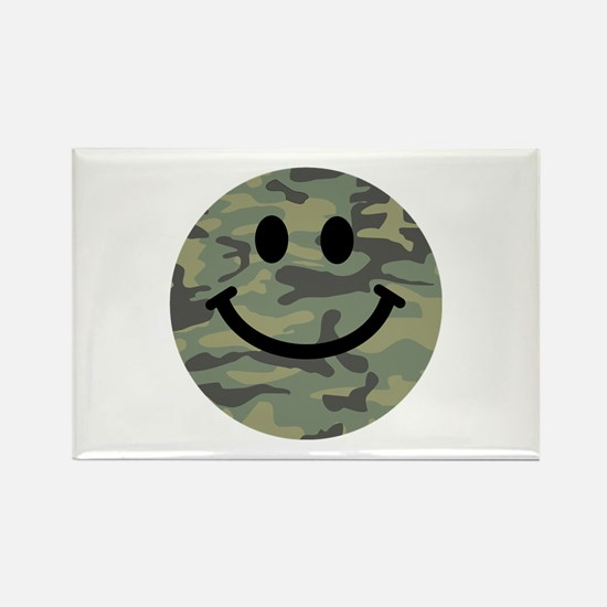 Green Camo Smiley Face Rectangle Magnet (10 pack)