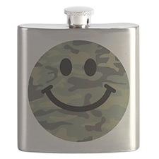 Green Camo Smiley Face Flask