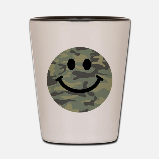 Green Camo Smiley Face Shot Glass