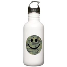 Green Camo Smiley Face Sports Water Bottle