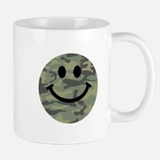 Green Camo Smiley Face Small Mug