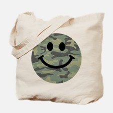 Green Camo Smiley Face Tote Bag