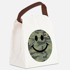 Green Camo Smiley Face Canvas Lunch Bag