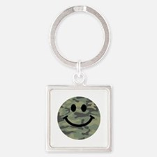 Green Camo Smiley Face Keychains