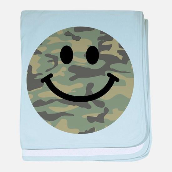 Green Camo Smiley Face baby blanket