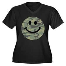 Green Camo Smiley Face Plus Size T-Shirt