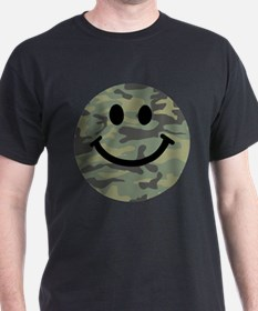 Green Camo Smiley Face T-Shirt