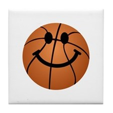 Basketball smiley face Tile Coaster
