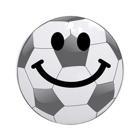 Soccer ball smiley face Ornament (Round)