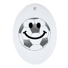 Soccer ball smiley face Ornament (Oval)