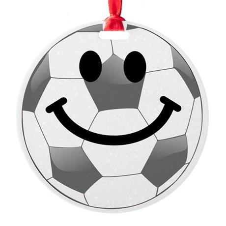 Soccer ball smiley face Round Ornament