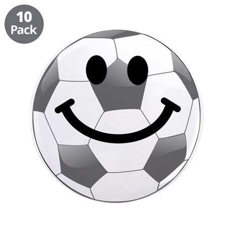 "Soccer ball smiley face 3.5"" Button (10 pack)"