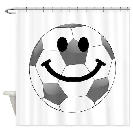Soccer ball smiley face Shower Curtain
