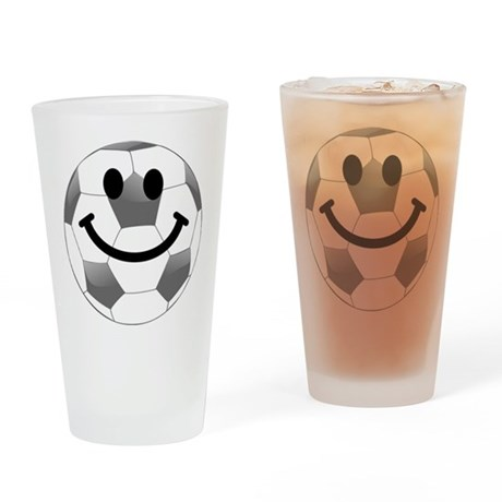 Soccer ball smiley face Drinking Glass