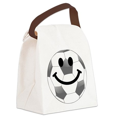Soccer ball smiley face Canvas Lunch Bag
